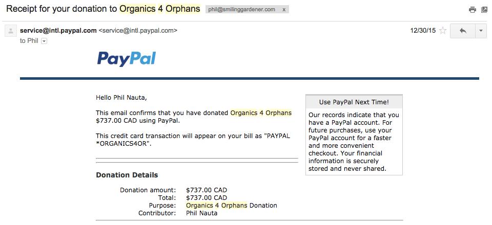 Organics 4 Orphans Donation 3