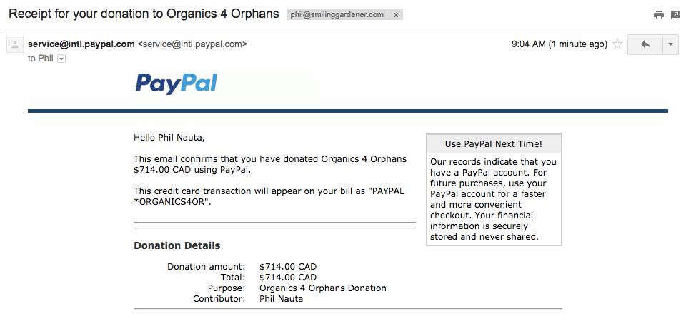 Organics 4 Orphans Donation